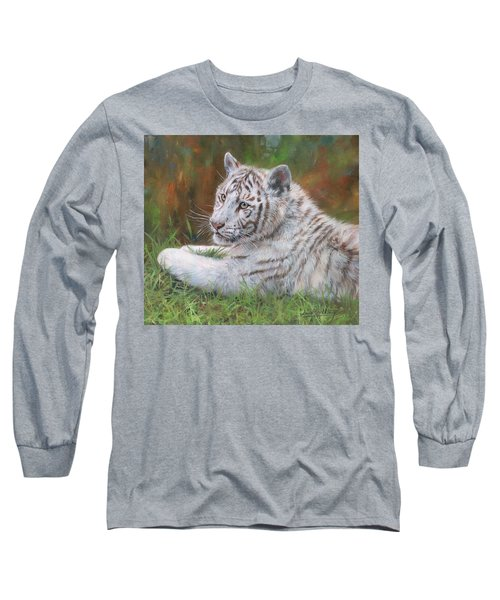 Long Sleeve T-Shirt featuring the painting White Tiger Cub 2 by David Stribbling