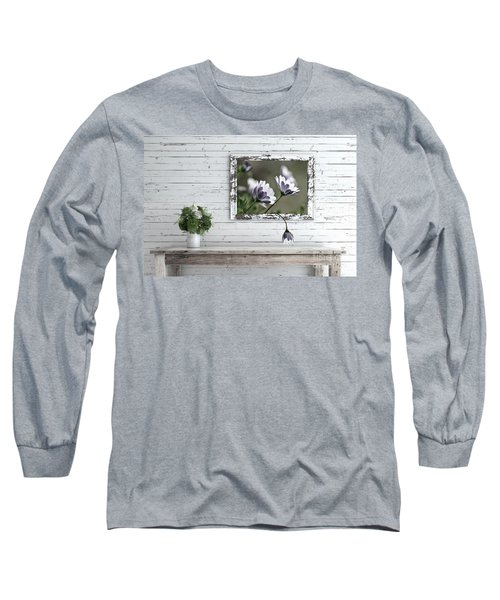 Long Sleeve T-Shirt featuring the photograph White Timber Cottage By Kaye Menner by Kaye Menner