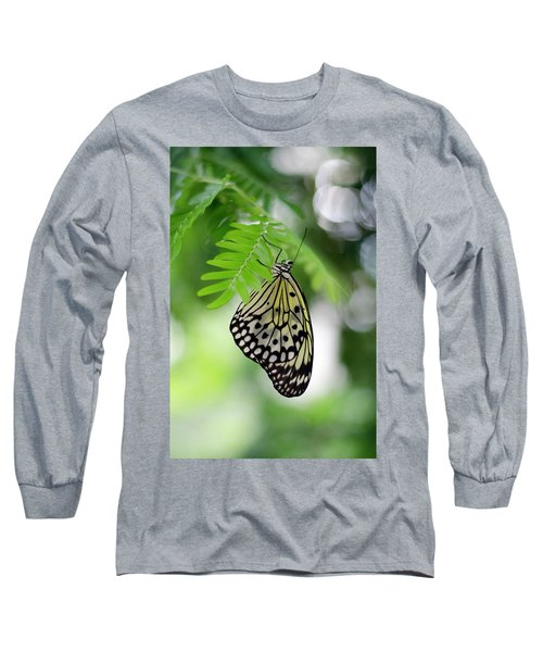White Tree Nymph Butterfly 2 Long Sleeve T-Shirt by Marie Hicks