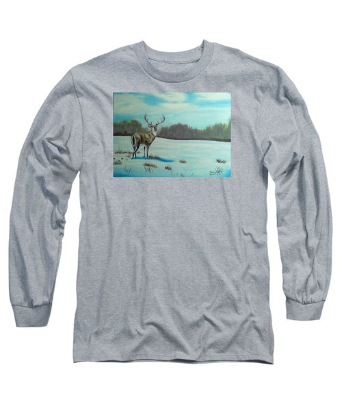 Whitetail Buck Long Sleeve T-Shirt by Brenda Bonfield