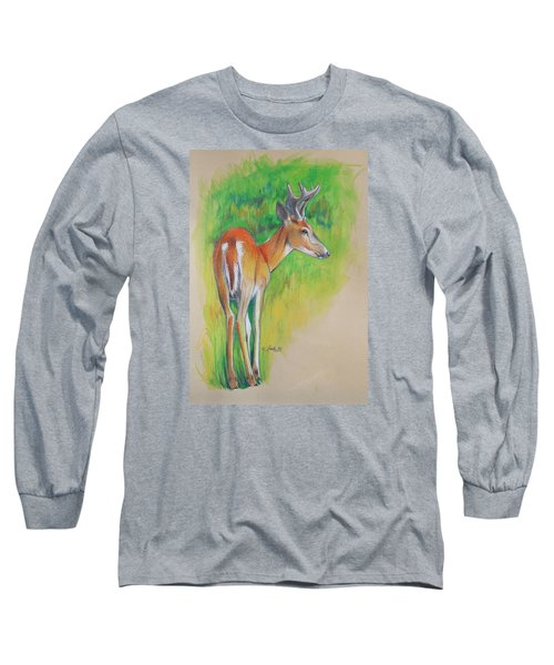Whitetail Buck Mixed Media Long Sleeve T-Shirt