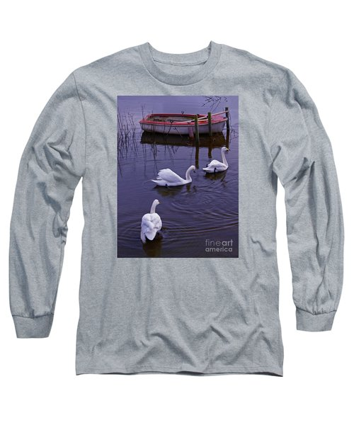 Whooper Swans On River Long Sleeve T-Shirt