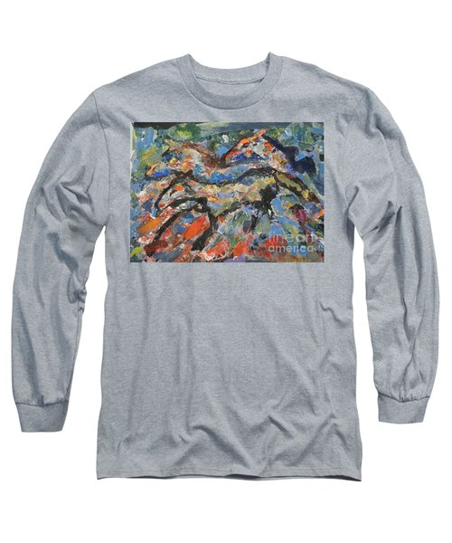 Long Sleeve T-Shirt featuring the painting Wild Horses by Ellen Anthony