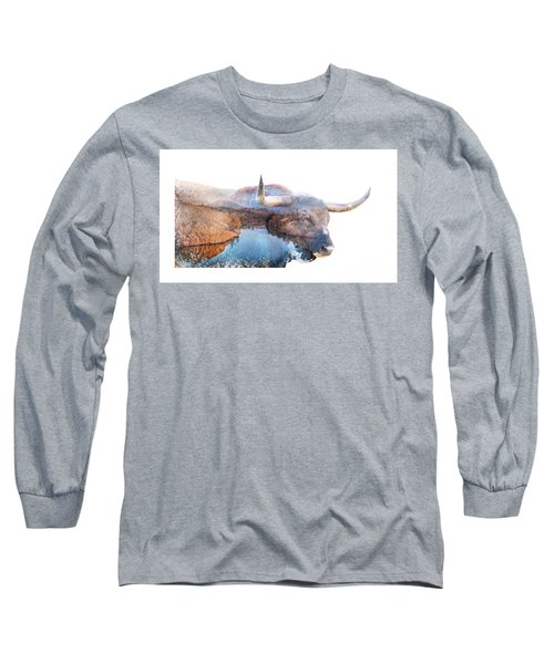 Wild Longhorn Bull And Lake Double Exposure Long Sleeve T-Shirt