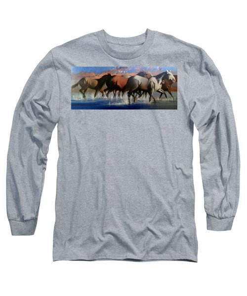 Wild Mustangs Of The Verder River Long Sleeve T-Shirt