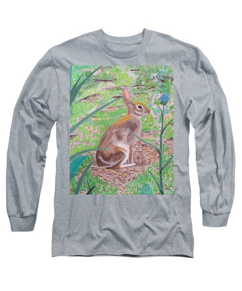 Long Sleeve T-Shirt featuring the painting Wild Rabbit by Hilda and Jose Garrancho