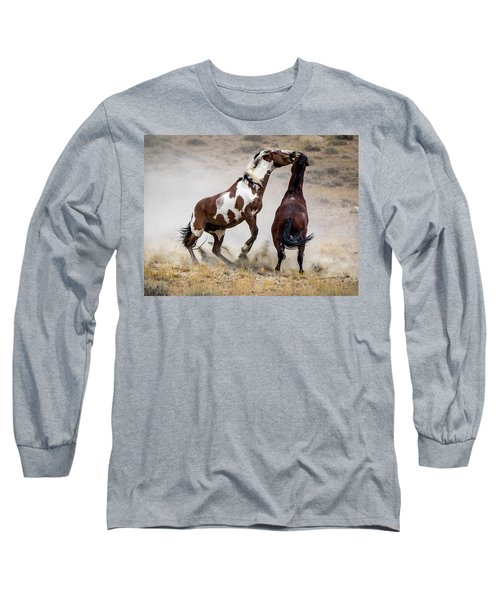 Wild Stallion Battle - Picasso And Dragon Long Sleeve T-Shirt