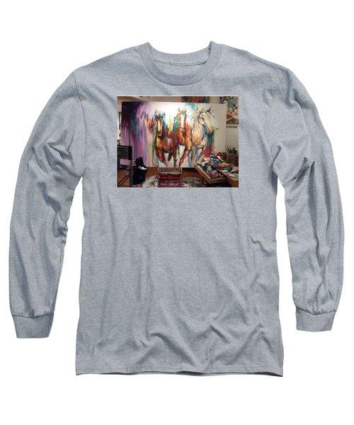 Wild Wild Horses Long Sleeve T-Shirt by Heather Roddy