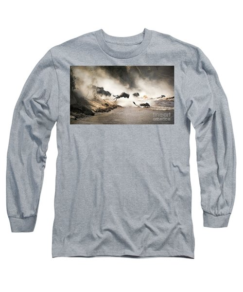 Wildebeest Leap Of Faith Into The Mara River Long Sleeve T-Shirt