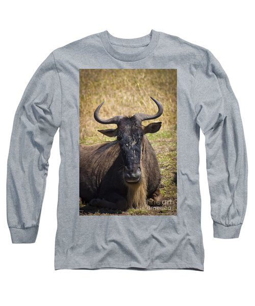 Wildebeest Taking A Break Long Sleeve T-Shirt by Darcy Michaelchuk