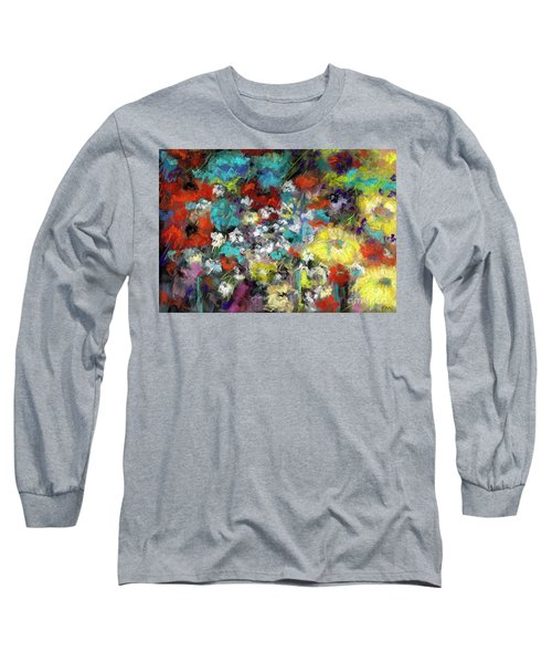 Long Sleeve T-Shirt featuring the painting Wildflower Field by Frances Marino