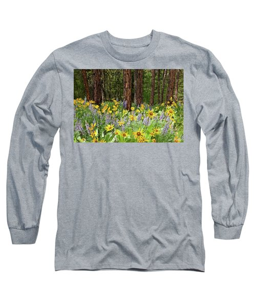 Balsamroot And Lupine In A Ponderosa Pine Forest Long Sleeve T-Shirt