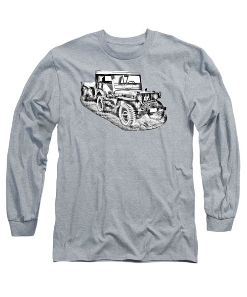 Willys World War Two Army Jeep Illustration Long Sleeve T-Shirt