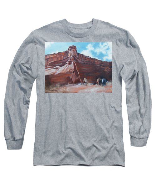 Long Sleeve T-Shirt featuring the painting Wind Horse Canyon by Karen Kennedy Chatham