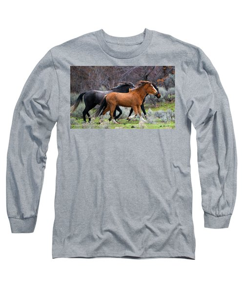 Long Sleeve T-Shirt featuring the photograph Wind In The Manes by Mike Dawson