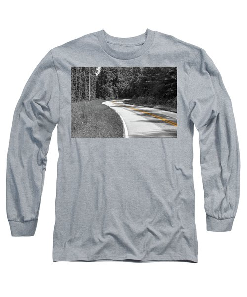 Winding Country Road In Selective Color Long Sleeve T-Shirt
