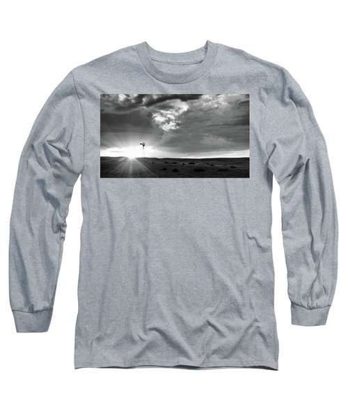 Windmill At Sunset Long Sleeve T-Shirt by Monte Stevens