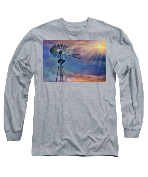 Long Sleeve T-Shirt featuring the photograph Windmill At Sunset by Susan Candelario