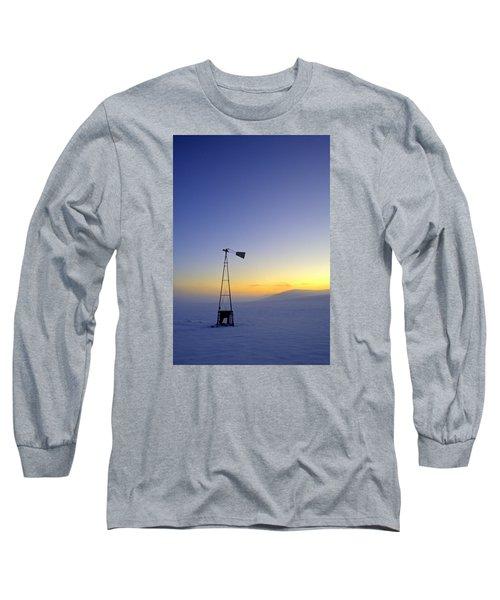 Windmill Winter Sunset Long Sleeve T-Shirt