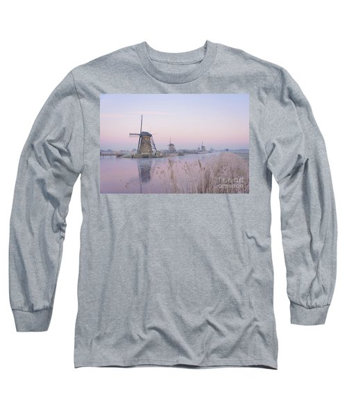 Windmills In The Netherlands In The Soft Sunrise Light In Winter Long Sleeve T-Shirt