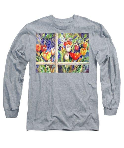 Window Box Tulips Long Sleeve T-Shirt