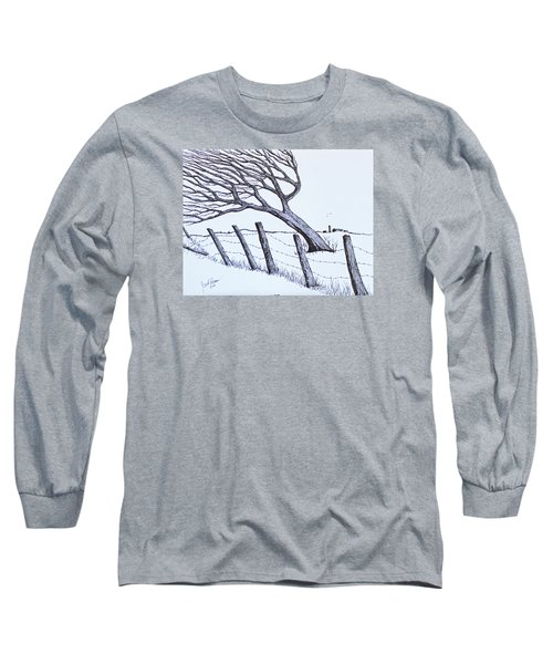 Long Sleeve T-Shirt featuring the drawing Windy 24/7 by Jack G Brauer