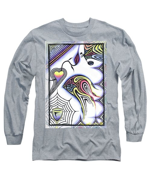 Wine Glass Fish Long Sleeve T-Shirt by Luke Galutia