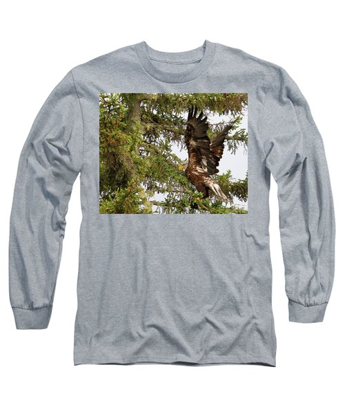 Long Sleeve T-Shirt featuring the photograph Winging-it Up The Tree 1 by Debbie Stahre