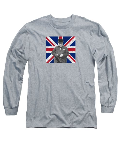 Winston Churchill And His Flag Long Sleeve T-Shirt by War Is Hell Store