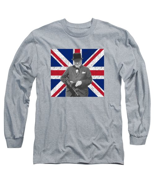 Winston Churchill And His Flag Long Sleeve T-Shirt