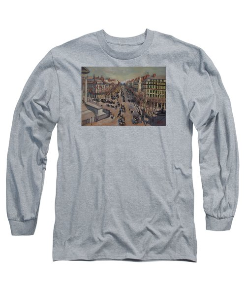 Winter At The Boulevard De La Madeleine, Paris Long Sleeve T-Shirt by Nop Briex