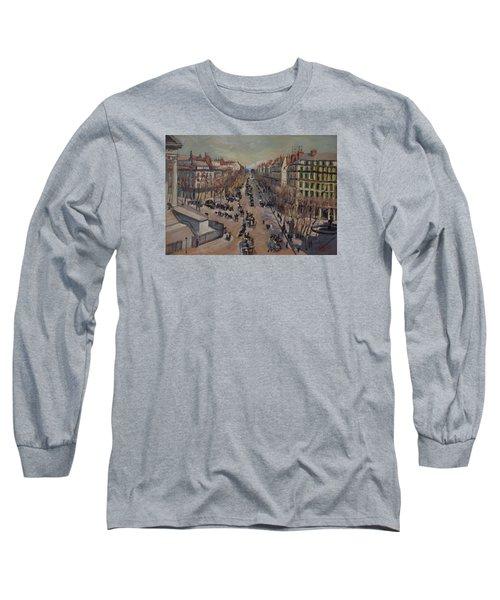 Winter At The Boulevard De La Madeleine, Paris Long Sleeve T-Shirt