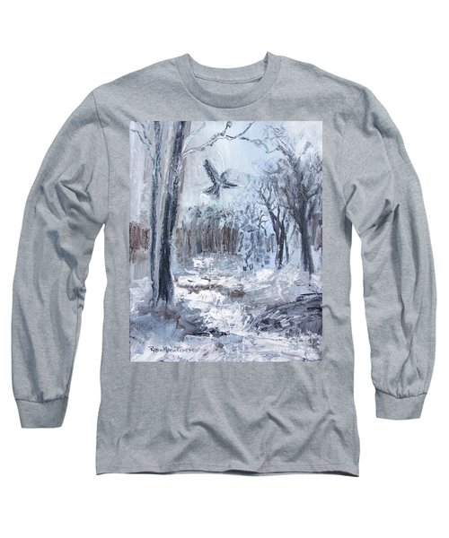 Long Sleeve T-Shirt featuring the painting Winter Caws by Robin Maria Pedrero