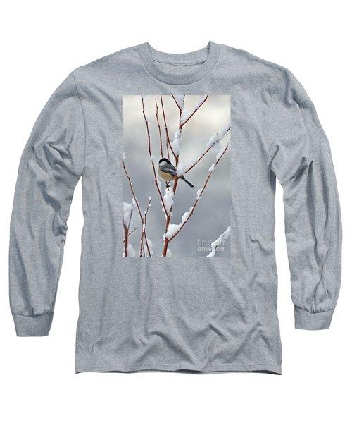 Winter Chickadee Long Sleeve T-Shirt by Diane E Berry