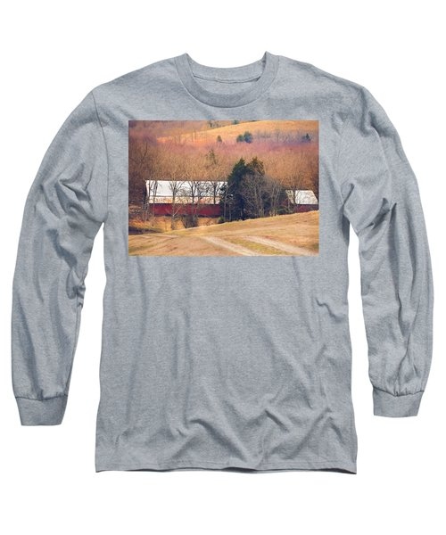Winter Day On A Tennessee Farm Long Sleeve T-Shirt by Debbie Karnes