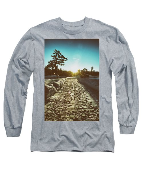 Winter Driveway Sunset Long Sleeve T-Shirt