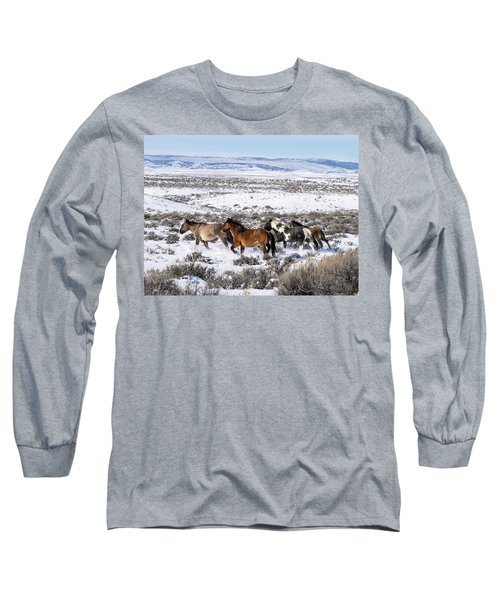 Winter In Sand Wash Basin - Wild Mustangs On The Run Long Sleeve T-Shirt