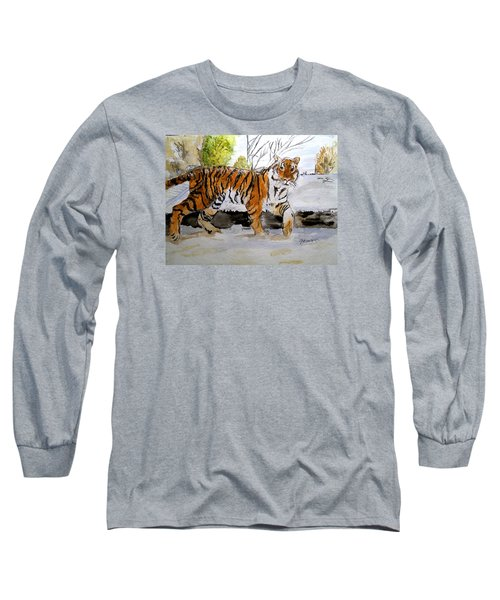 Long Sleeve T-Shirt featuring the painting Winter In The Zoo by Carol Grimes