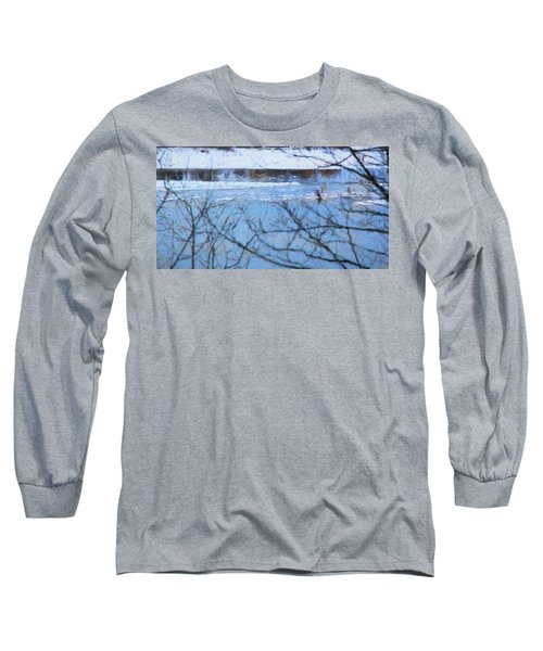 Long Sleeve T-Shirt featuring the photograph Winter River by Kathy Bassett