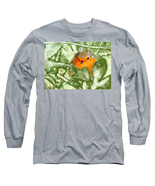 Long Sleeve T-Shirt featuring the photograph Winter Robin by LemonArt Photography