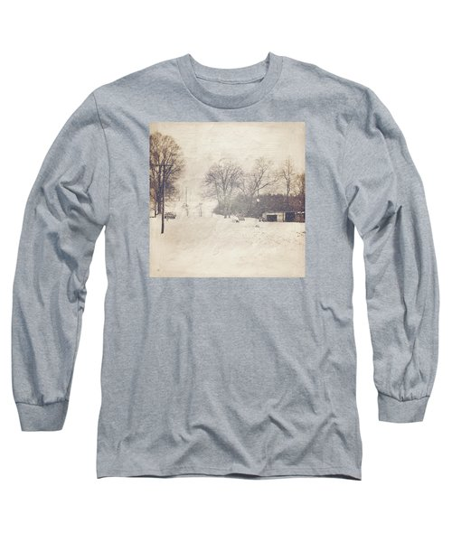 Winter Snow Storm At The Farm Long Sleeve T-Shirt