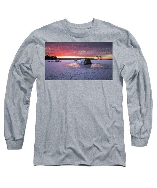 Winter Sunrise Over Moose Pond Long Sleeve T-Shirt