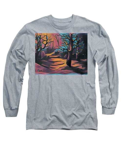 Winter Sunset Digital  Long Sleeve T-Shirt by Megan Walsh