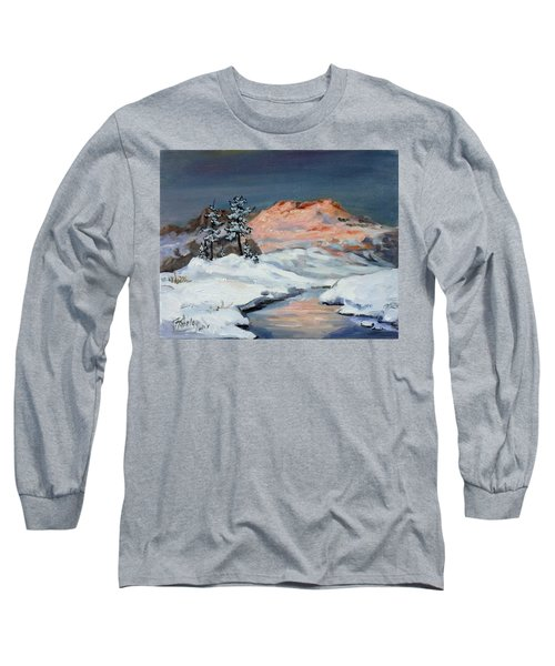 Winter Sunset In The Mountains Long Sleeve T-Shirt