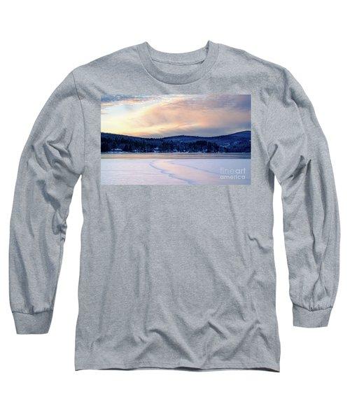 Winter Sunset On Wilson Lake In Wilton Me  -78091-78092 Long Sleeve T-Shirt