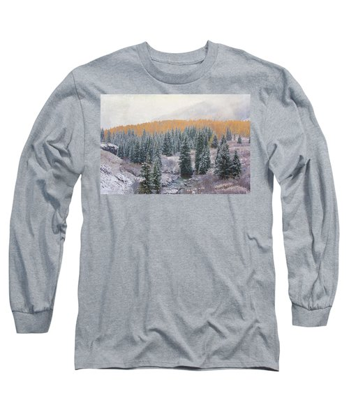 Winter Touches The Mountain Long Sleeve T-Shirt by Kristal Kraft