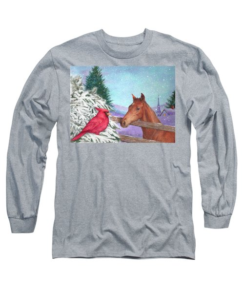 Long Sleeve T-Shirt featuring the painting Winterscape With Horse And Cardinal by Judith Cheng