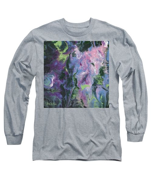Long Sleeve T-Shirt featuring the painting Wisteria Abstract by Jamie Frier