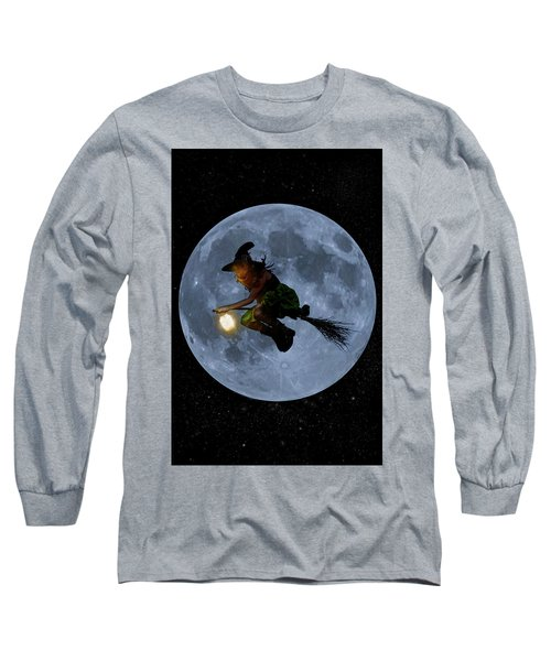 Witch Flying At Full Moon. Long Sleeve T-Shirt