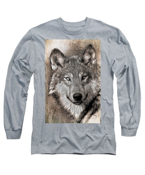 Nature Long Sleeve T-Shirt featuring the digital art Wolf  by Aaron Berg